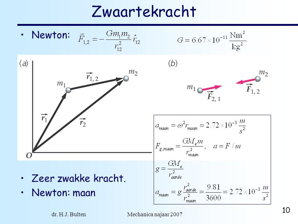 dr. H.J. Bulten Mechanica najaar 2007 10 Zwaartekracht Newton: Zeer zwakke kracht. Newton: maan