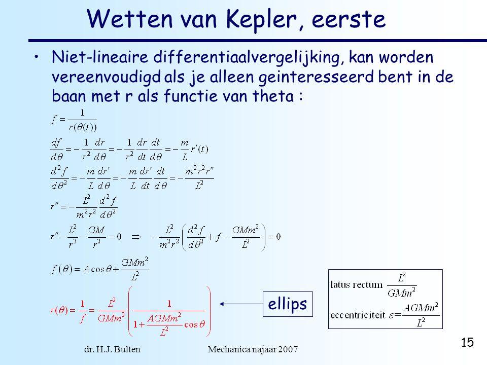 dr. H.J. Bulten Mechanica najaar 2007 15 Wetten van Kepler, eerste Niet-lineaire differentiaalvergelijking, kan worden vereenvoudigd als je alleen gei