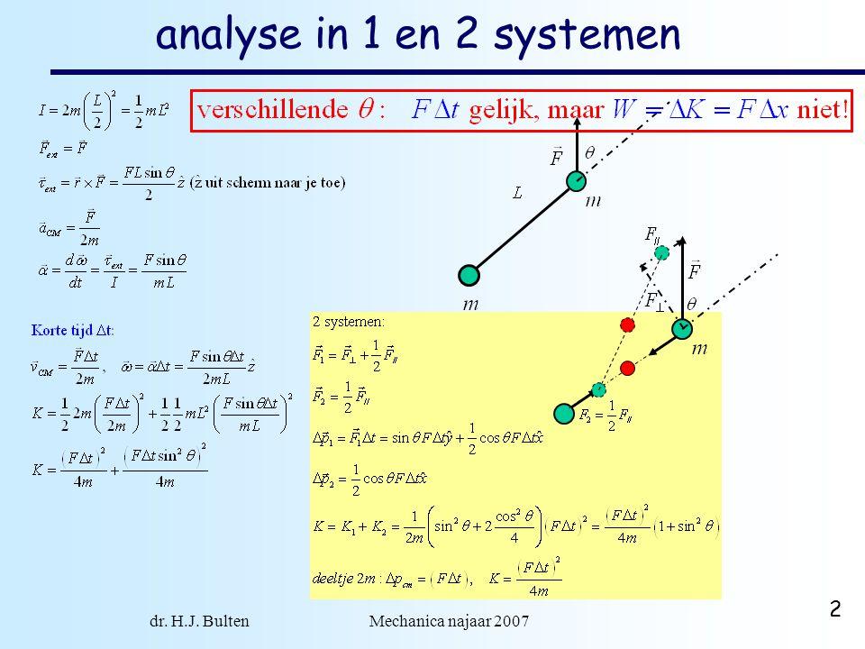 dr. H.J. Bulten Mechanica najaar 2007 2 analyse in 1 en 2 systemen