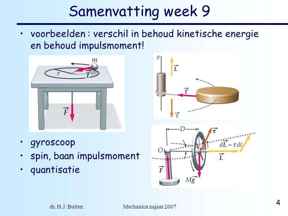 dr. H.J. Bulten Mechanica najaar 2007 4 Samenvatting week 9 voorbeelden : verschil in behoud kinetische energie en behoud impulsmoment! gyroscoop spin