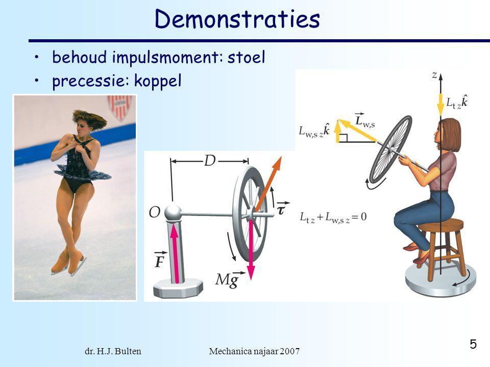 dr. H.J. Bulten Mechanica najaar 2007 5 Demonstraties behoud impulsmoment: stoel precessie: koppel