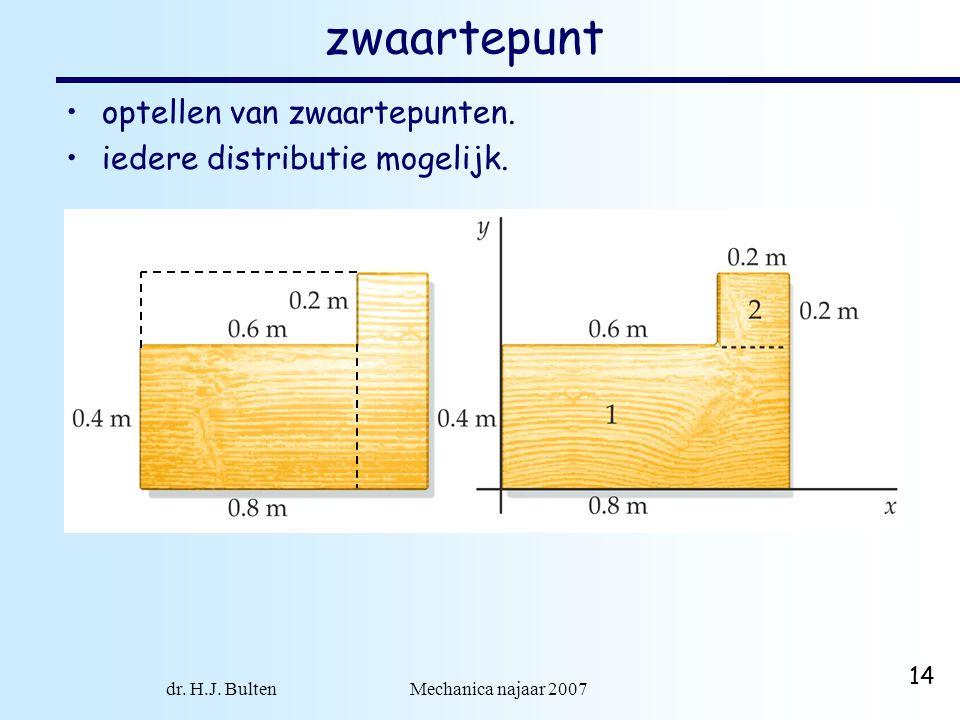 dr. H.J. Bulten Mechanica najaar 2007 14 zwaartepunt optellen van zwaartepunten. iedere distributie mogelijk.