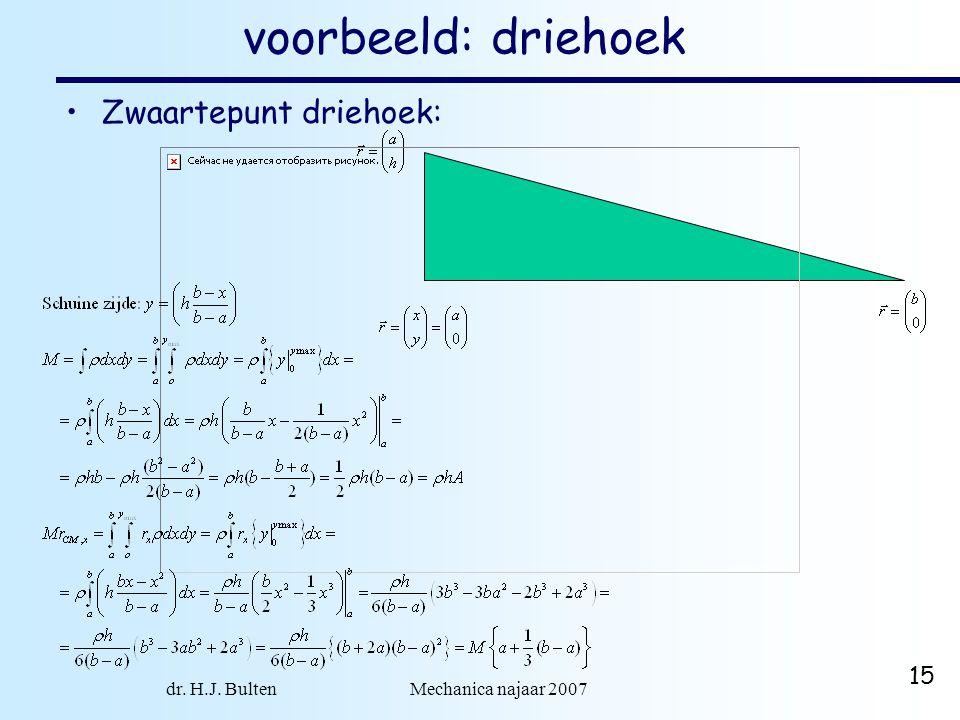 dr. H.J. Bulten Mechanica najaar 2007 15 voorbeeld: driehoek Zwaartepunt driehoek: