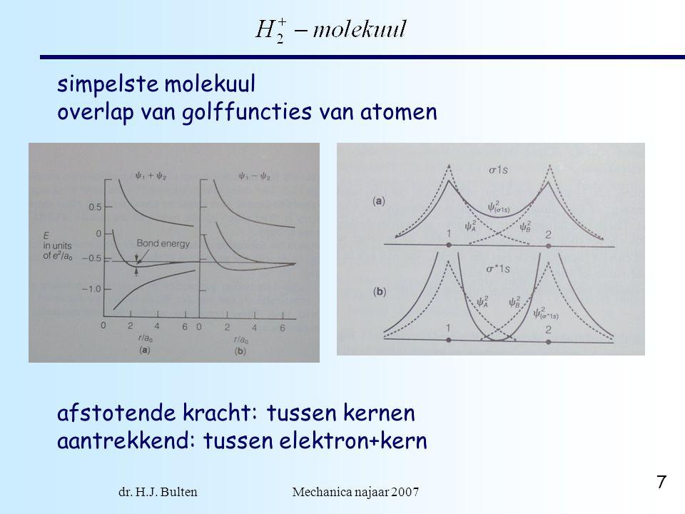 dr. H.J. Bulten Mechanica najaar 2007 7 simpelste molekuul overlap van golffuncties van atomen afstotende kracht: tussen kernen aantrekkend: tussen el