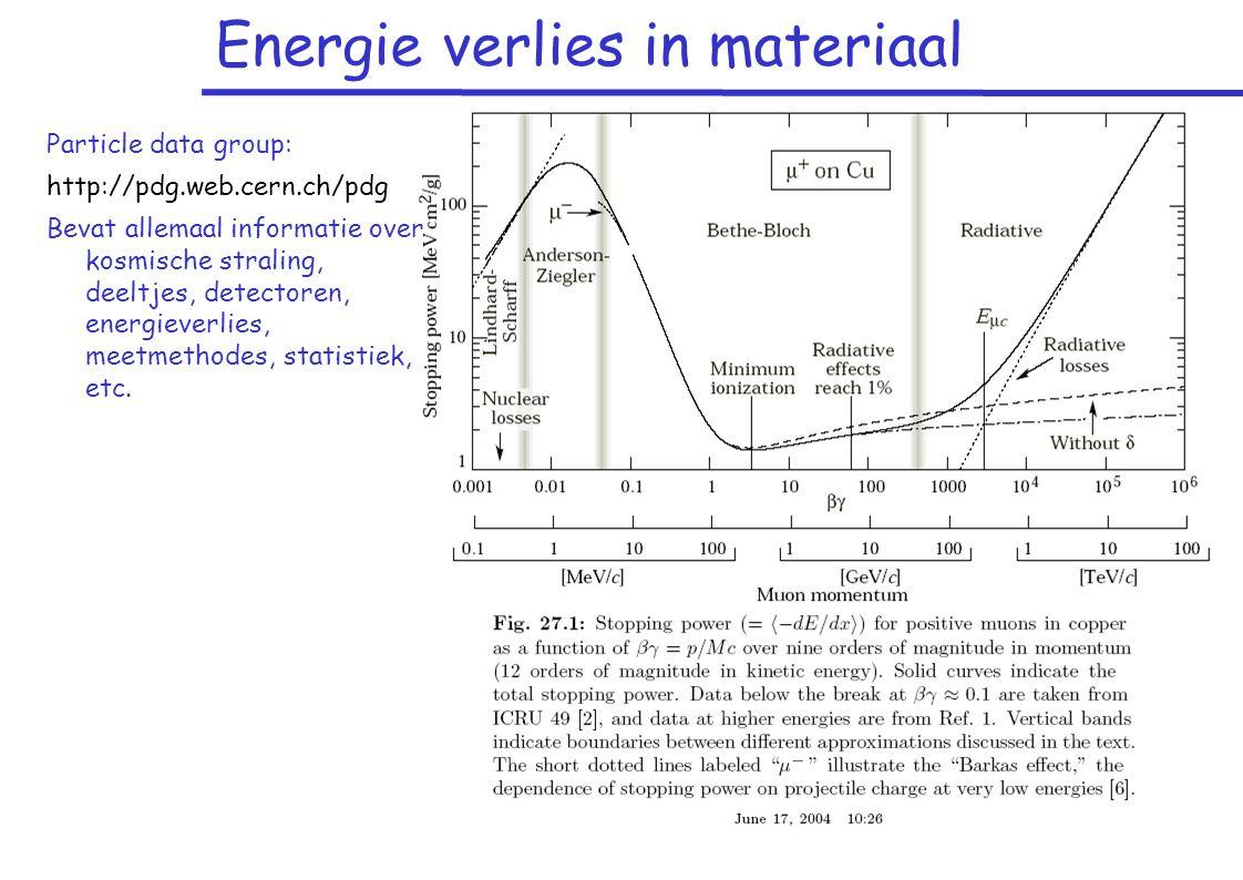 Energie verlies in materiaal Particle data group: http://pdg.web.cern.ch/pdg Bevat allemaal informatie over kosmische straling, deeltjes, detectoren, energieverlies, meetmethodes, statistiek, etc.