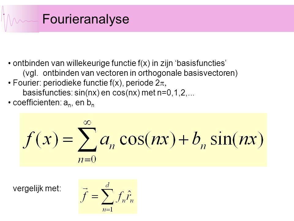 Fourieranalyse ontbinden van willekeurige functie f(x) in zijn 'basisfuncties' (vgl. ontbinden van vectoren in orthogonale basisvectoren) Fourier: per