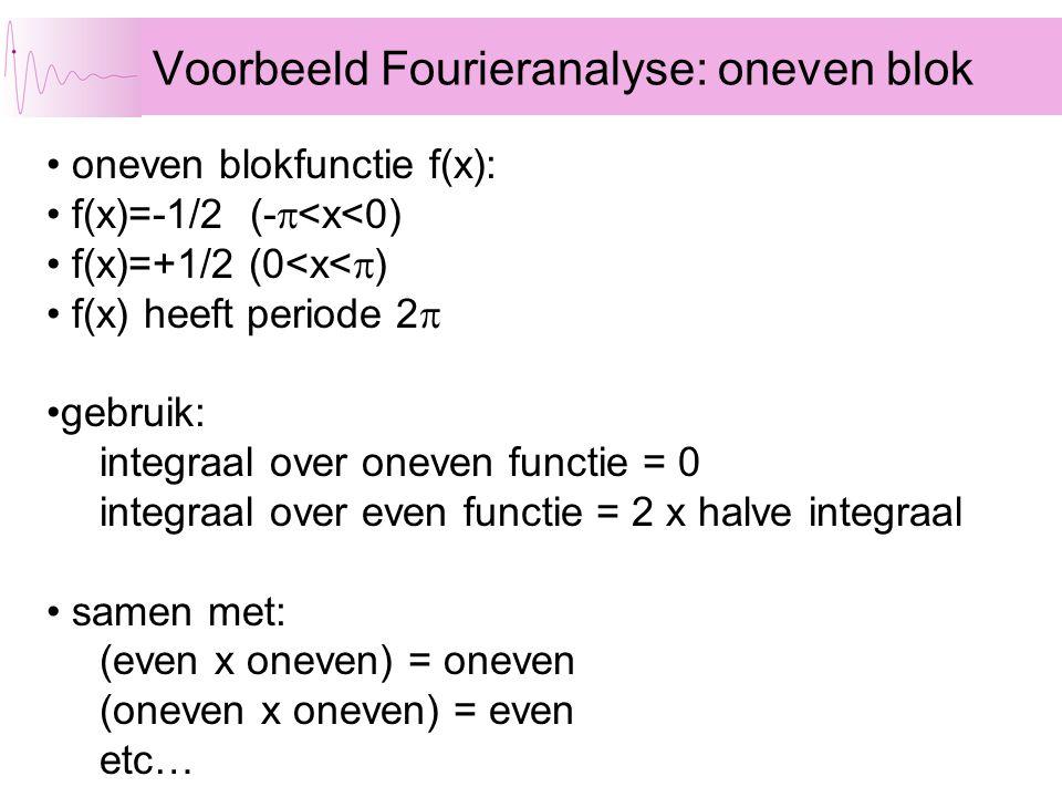 Voorbeeld Fourieranalyse: oneven blok oneven blokfunctie f(x): f(x)=-1/2 (-  <x<0) f(x)=+1/2 (0<x<  ) f(x) heeft periode 2  gebruik: integraal over