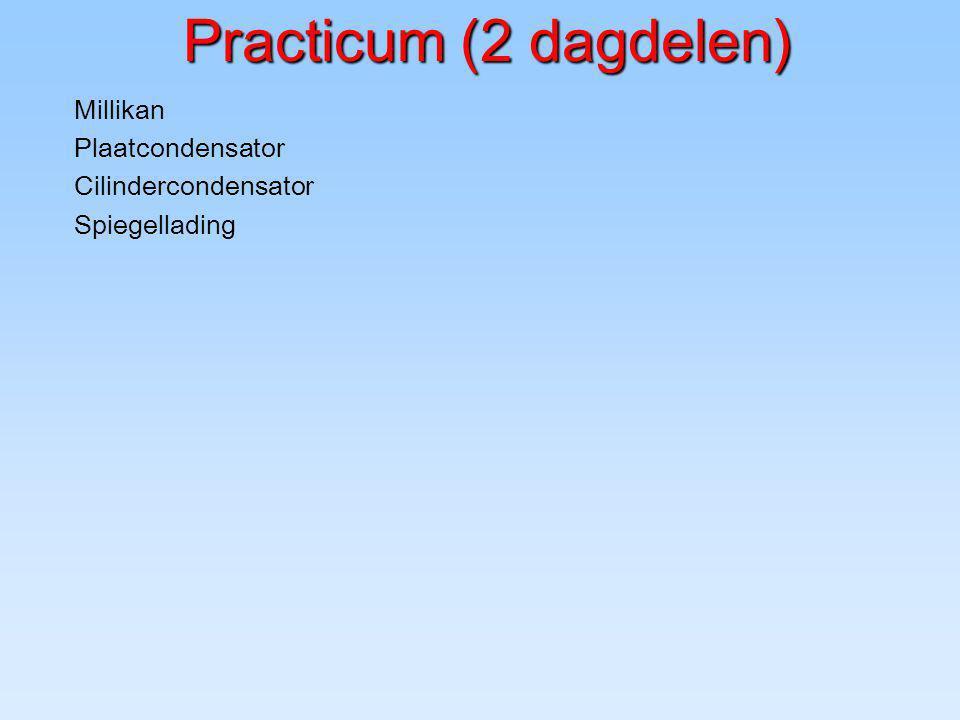 Practicum (2 dagdelen) Practicum (2 dagdelen) Millikan Plaatcondensator Cilindercondensator Spiegellading