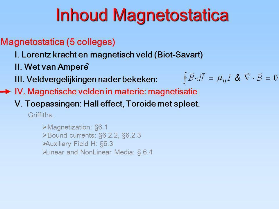 Inhoud Magnetostatica Magnetostatica (5 colleges) I. Lorentz kracht en magnetisch veld (Biot-Savart) II. Wet van Ampere III. Veldvergelijkingen nader