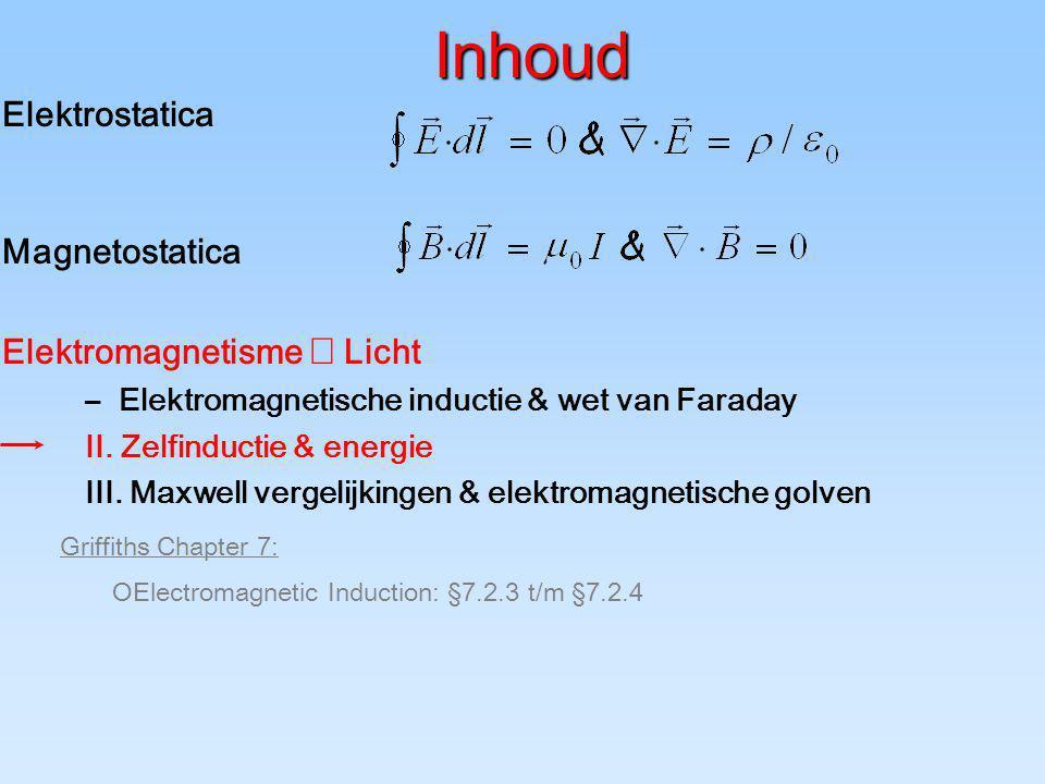 Inhoud Elektrostatica Magnetostatica Elektromagnetisme  Licht –Elektromagnetische inductie & wet van Faraday II. Zelfinductie & energie III. Maxwell