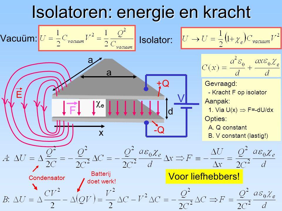 d a a Isolatoren: energie en kracht Isolator: Vacuüm: V Batterij doet werk! Condensator ee x F Gevraagd: - Kracht F op isolator Aanpak: 1. Via U(x)