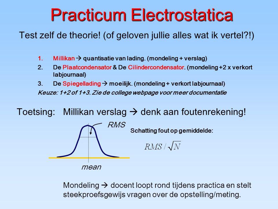 Practicum Electrostatica 1.Millikan  quantisatie van lading. (mondeling + verslag) 2.De Plaatcondensator & De Cilindercondensator. (mondeling +2 x ve