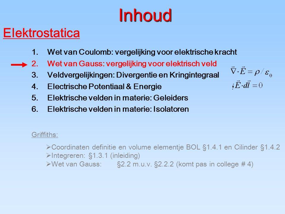 Inhoud Griffiths:  Coordinaten definitie en volume elementje BOL §1.4.1 en Cilinder §1.4.2  Integreren:§1.3.1 (inleiding)  Wet van Gauss:§2.2 m.u.v