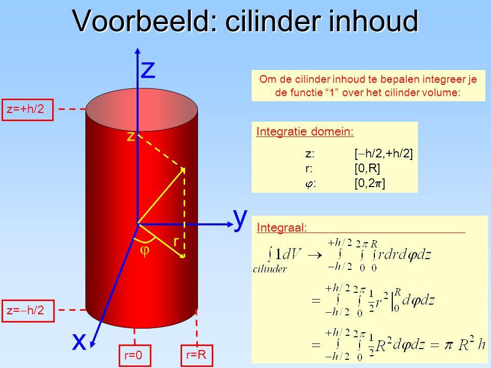 """Voorbeeld: cilinder inhoud y z x Om de cilinder inhoud te bepalen integreer je de functie """"1"""" over het cilinder volume: Integraal: Integratie domein:"""