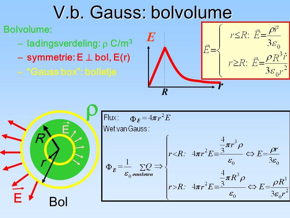 "V.b. Gauss: bolvolume  Bol Bolvolume: –ladingsverdeling:  C/m 3 R –""Gauss box"": bolletje r r E R E –symmetrie: E  bol, E(r) E"