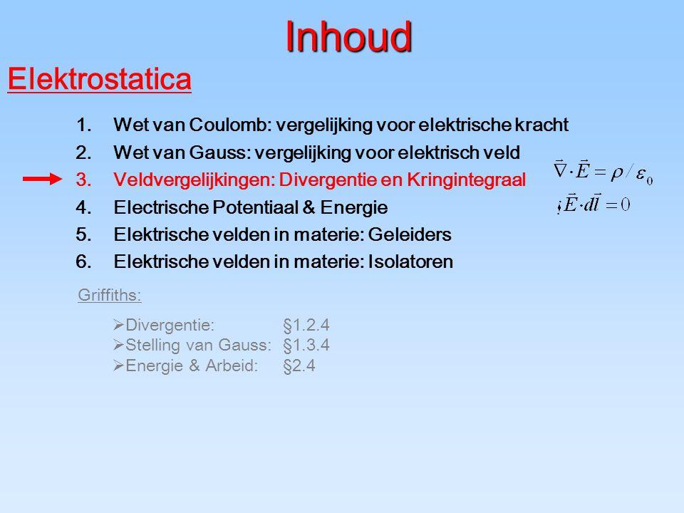 Inhoud Elektrostatica 1.Wet van Coulomb: vergelijking voor elektrische kracht 2.Wet van Gauss: vergelijking voor elektrisch veld 3.Veldvergelijkingen: