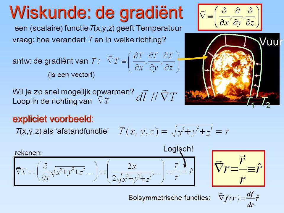 Wiskunde: de gradiënt Bolsymmetrische functies: een (scalaire) functieT(x,y,z) geeft Temperatuur T1T1T1T1 T2T2T2T2 Vuur vraag: hoe verandert T en in w