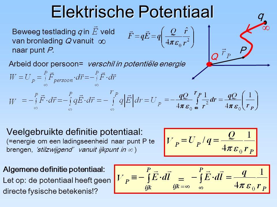 Elektrische Potentiaal Arbeid door persoon= verschil in potentiële energie q P Q  Beweeg testlading q in veld van bronlading Q vanuit naar punt P. 