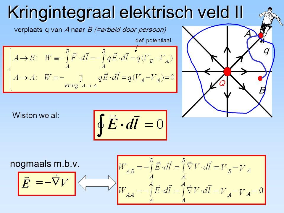 Kringintegraal elektrisch veld II verplaats q van A naar B (=arbeid door persoon) Q q Wisten we al: nogmaals m.b.v. def. potentiaal A B