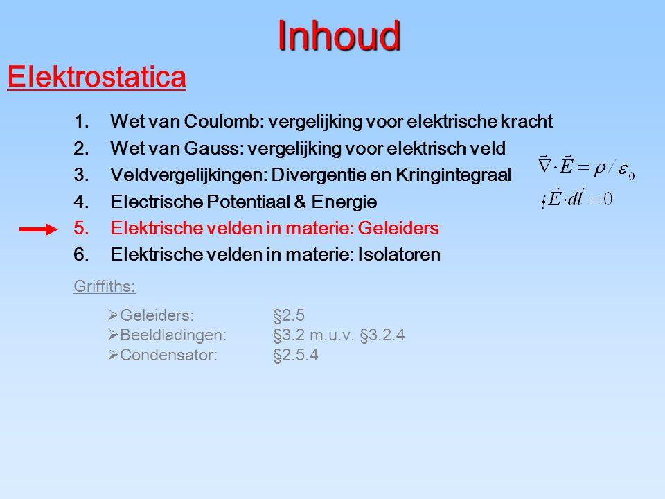 Inhoud Griffiths:  Geleiders:§2.5  Beeldladingen:§3.2 m.u.v. §3.2.4  Condensator:§2.5.4 Elektrostatica 1.Wet van Coulomb: vergelijking voor elektri