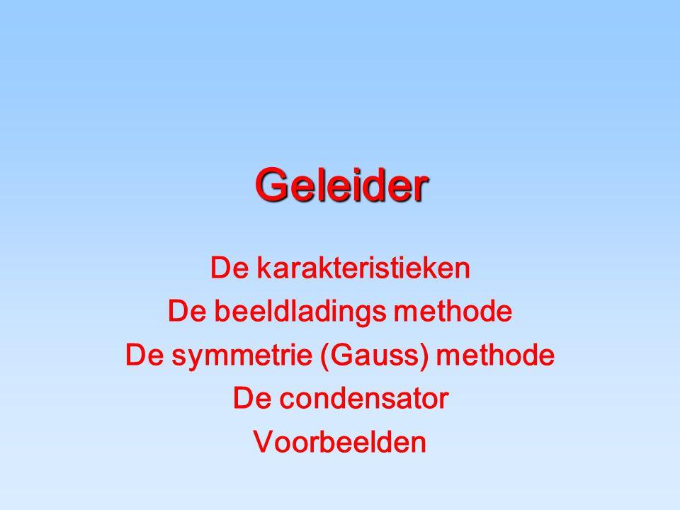 Geleider De karakteristieken De beeldladings methode De symmetrie (Gauss) methode De condensator Voorbeelden