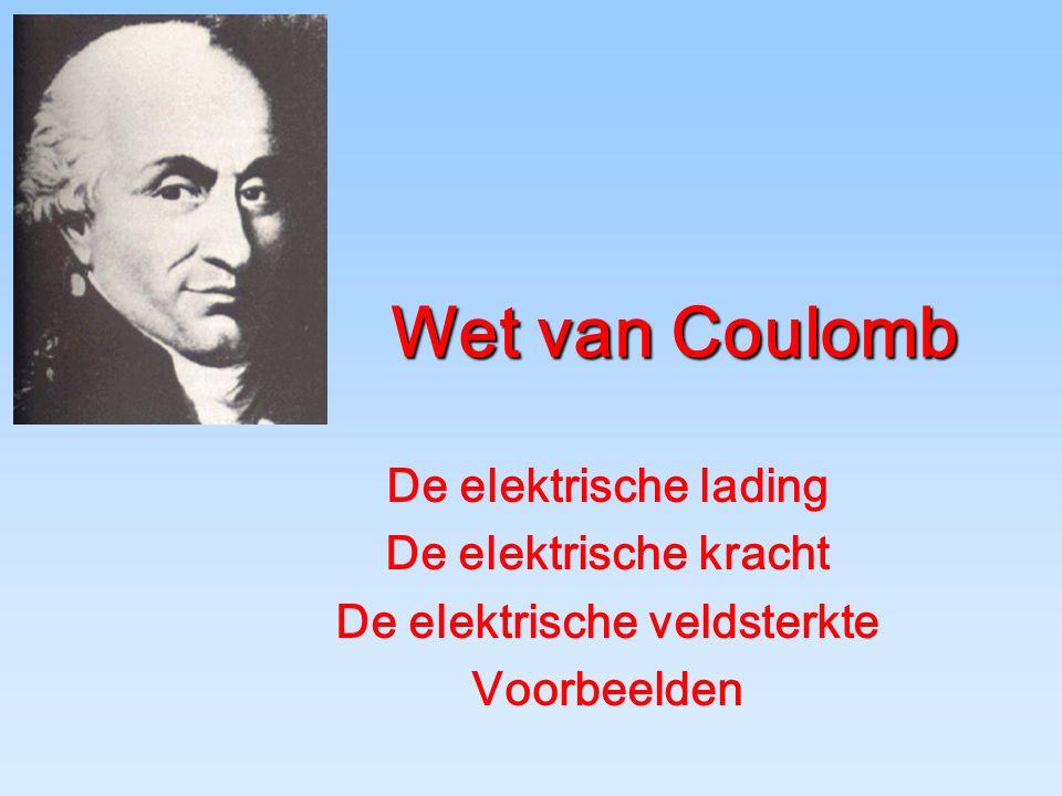 Wet van Coulomb De elektrische lading De elektrische kracht De elektrische veldsterkte Voorbeelden
