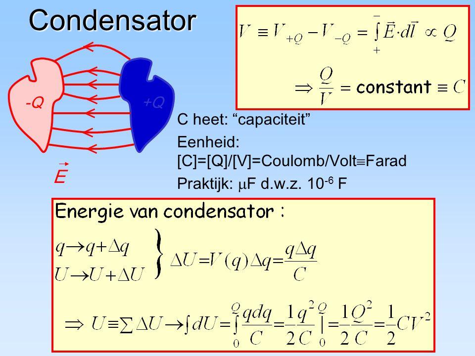 """Condensator C heet: """"capaciteit"""" Eenheid: [C]=[Q]/[V]=Coulomb/Volt  Farad Praktijk:  F d.w.z. 10 -6 F -Q+Q E"""