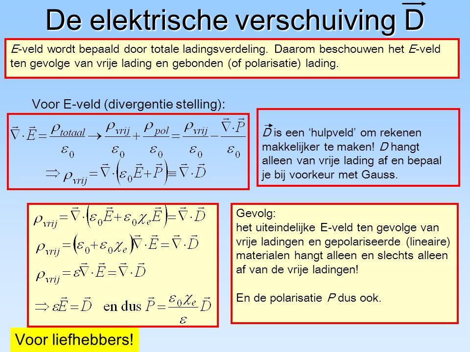 De elektrische verschuiving D E-veld wordt bepaald door totale ladingsverdeling. Daarom beschouwen het E-veld ten gevolge van vrije lading en gebonden