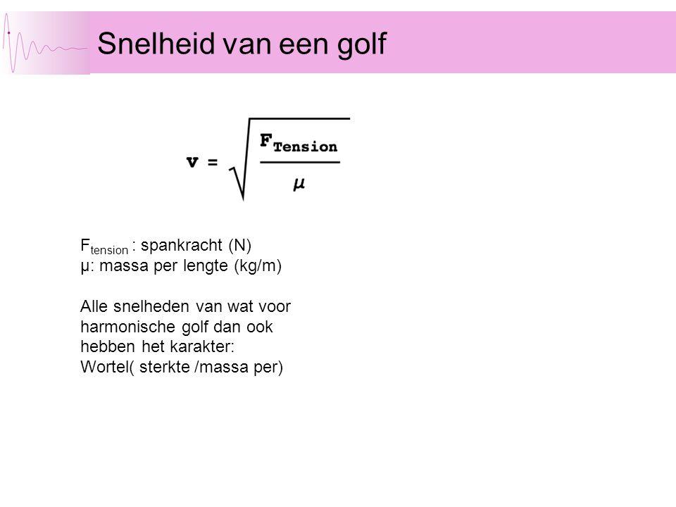 Snelheid van een golf F tension : spankracht (N) µ: massa per lengte (kg/m) Alle snelheden van wat voor harmonische golf dan ook hebben het karakter: