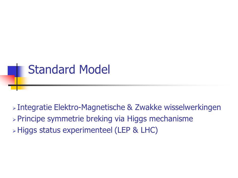 Standard Model  Integratie Elektro-Magnetische & Zwakke wisselwerkingen  Principe symmetrie breking via Higgs mechanisme  Higgs status experimenteel (LEP & LHC)