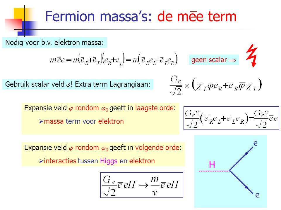 Boson massa's Expansie veld  rondom  0 geeft in laagste orde:  massa termen W 1, W 2, W 3 en B bosonen Expansie veld  rondom  0 geeft in volgende orde:  een fysisch scalar veld H: het Higgs veld  interacties tussen Higgs en W ±  interacties tussen Higgs en Z 0 W ± Z 0 H