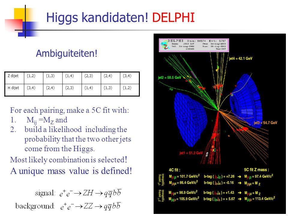 "Higgs Hunt Strategy: Signal: e + e -  Z *  ZH Higgs verval: H  bb  jetjet  lifetime tag Z-boson verval: ""event topology"" Achtergrond: e + e - "