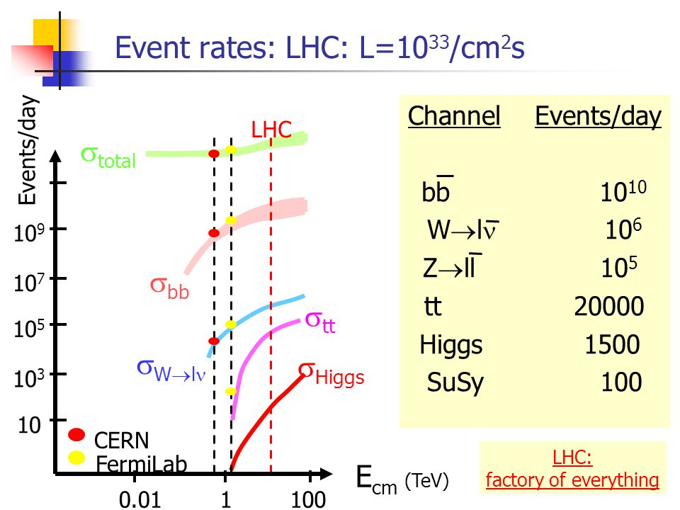 The Large Hadron Collider LHC Characteristics: proton-proton collider E cm =14.000 GeV=14 TeV rate = 40.000.000 Hz luminosity = 10 33-34 /cm 2 s 8 km