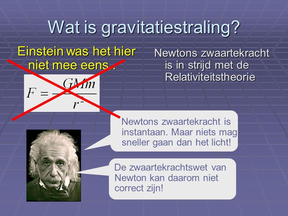 Wat is gravitatiestraling? Einstein was het hier niet mee eens.. Newtons zwaartekracht is in strijd met de Relativiteitstheorie Newtons zwaartekracht