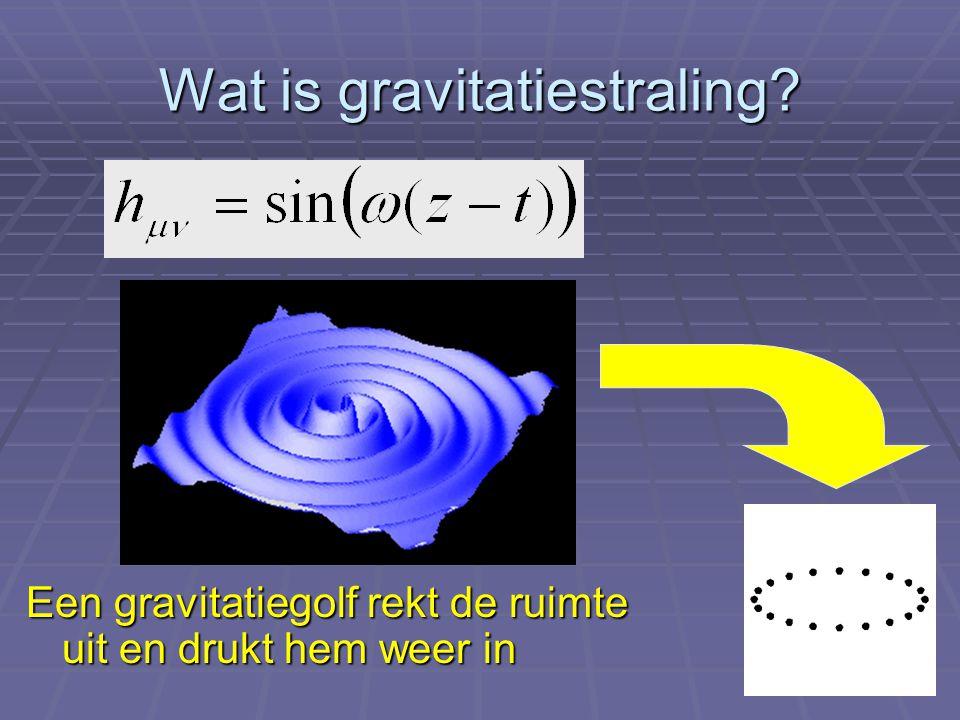 Wat is gravitatiestraling? Een gravitatiegolf rekt de ruimte uit en drukt hem weer in