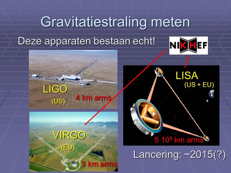 Gravitatiestraling meten Deze apparaten bestaan echt! LIGO (US) VIRGO (EU) 4 km arms 3 km arms LISA (US + EU) Lancering: ~2015(?) 5 10 6 km arms
