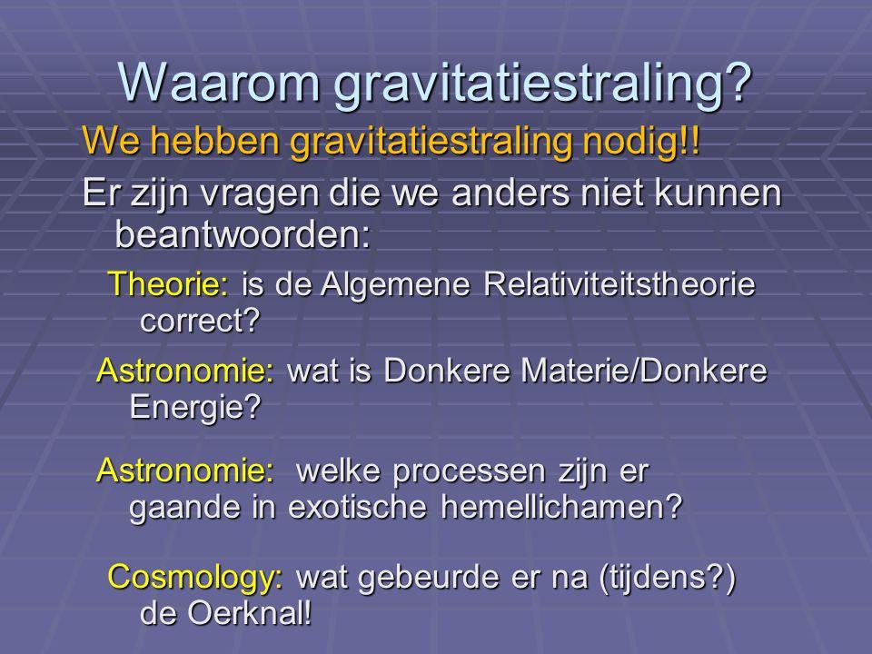 Waarom gravitatiestraling? Theorie: is de Algemene Relativiteitstheorie correct? Astronomie: welke processen zijn er gaande in exotische hemellichamen