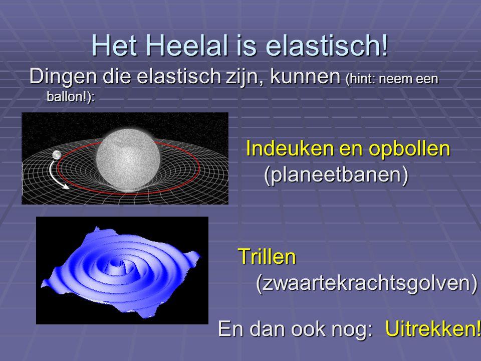 Dingen die elastisch zijn, kunnen (hint: neem een ballon!): Trillen (zwaartekrachtsgolven) En dan ook nog: Uitrekken! Indeuken en opbollen (planeetban