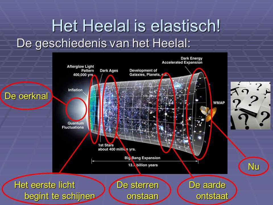 Het Heelal is elastisch! De geschiedenis van het Heelal: Het eerste licht begint te schijnen De oerknal De sterren onstaan De aarde ontstaat Nu