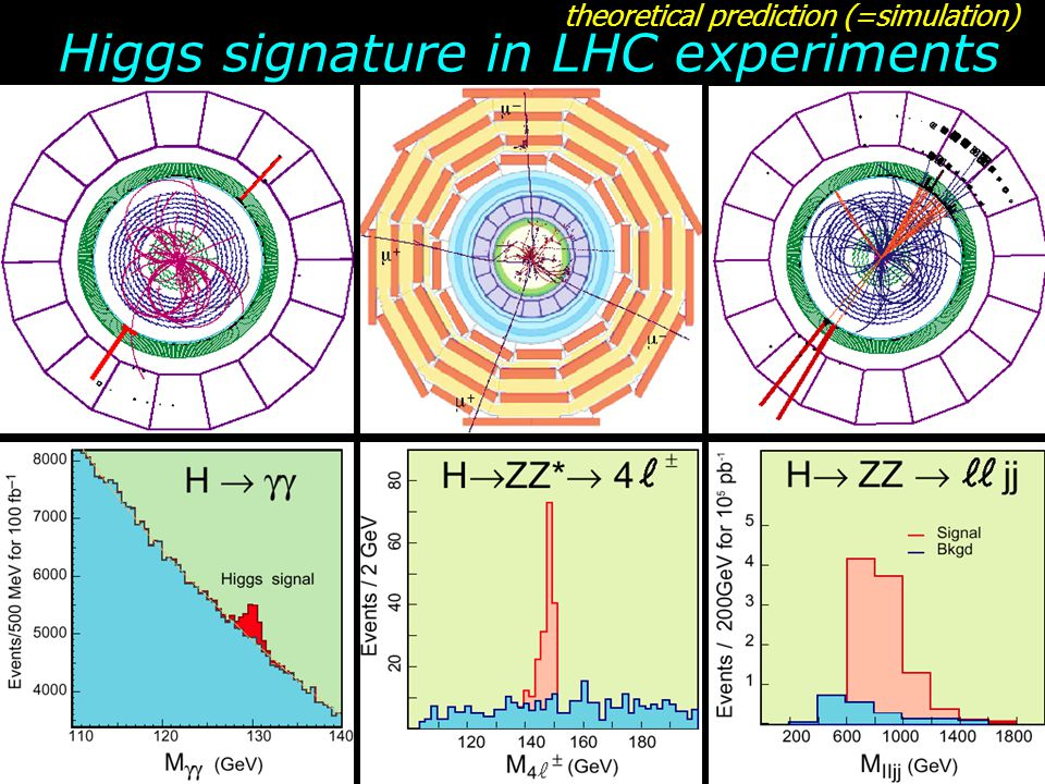 Higgs signature in LHC experiments theoretical prediction (=simulation)