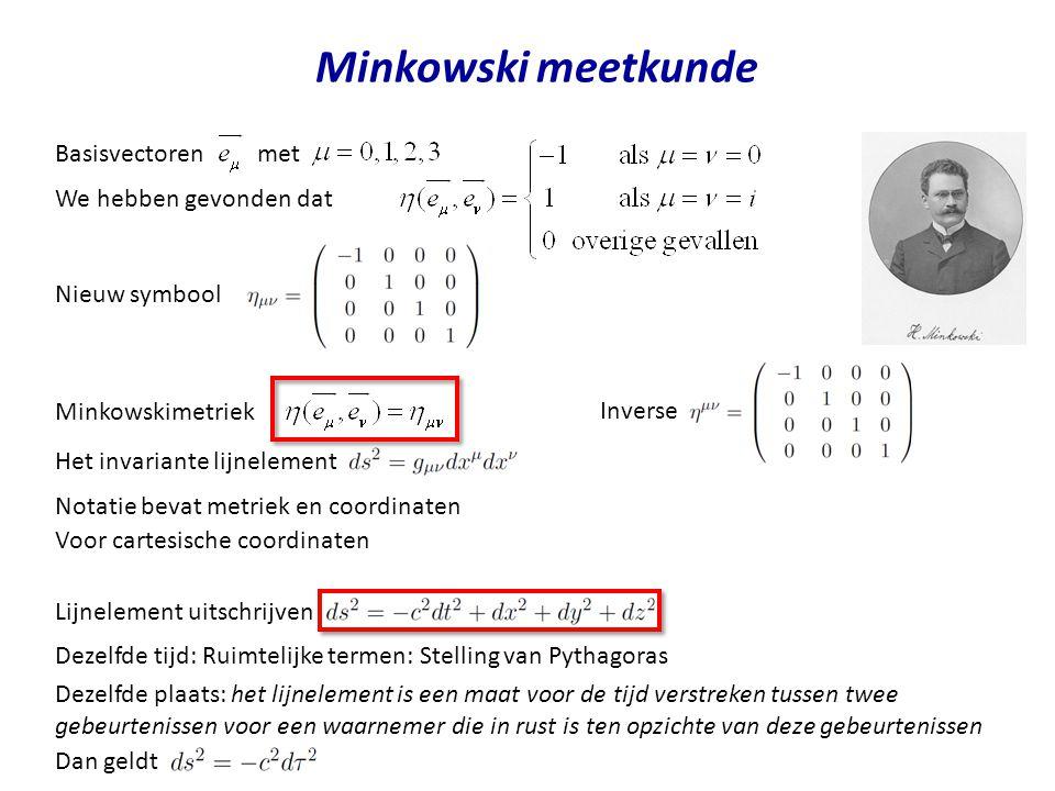 Voor cartesische coordinaten Minkowski meetkunde Het invariante lijnelement Notatie bevat metriek en coordinaten Minkowskimetriek Lijnelement uitschri