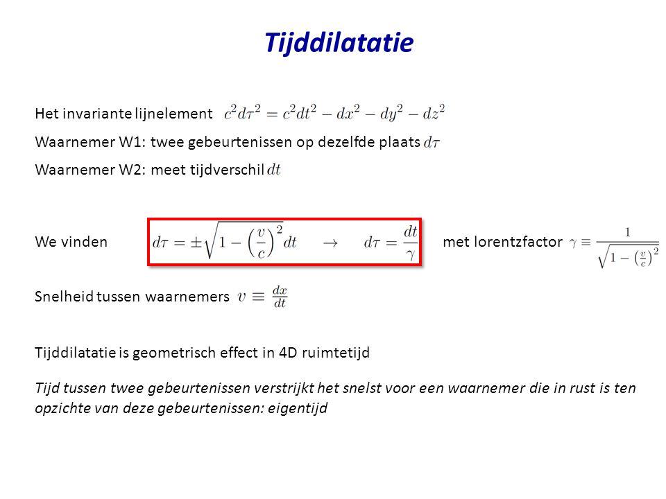 We vinden met lorentzfactor Tijddilatatie Het invariante lijnelement Waarnemer W1: twee gebeurtenissen op dezelfde plaats Waarnemer W2: meet tijdversc