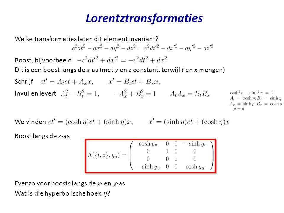 Lorentztransformaties Invullen levert Welke transformaties laten dit element invariant? We vinden Boost, bijvoorbeeld Schrijf Dit is een boost langs d