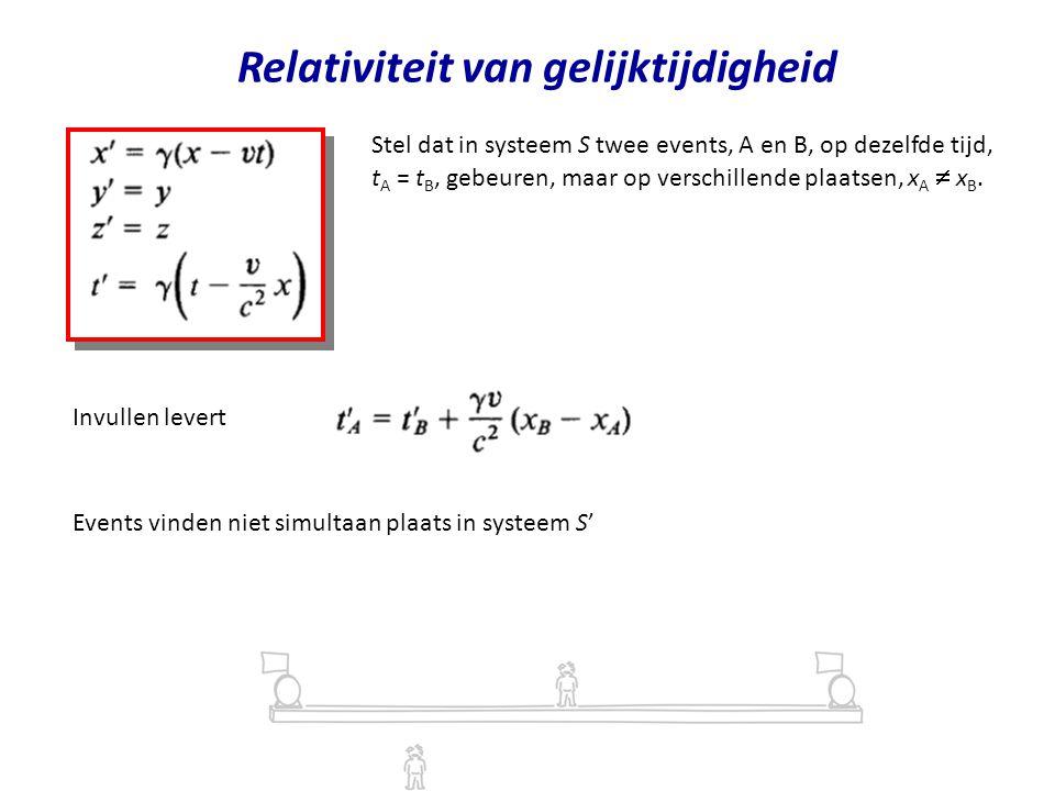 Relativiteit van gelijktijdigheid Stel dat in systeem S twee events, A en B, op dezelfde tijd, t A = t B, gebeuren, maar op verschillende plaatsen, x