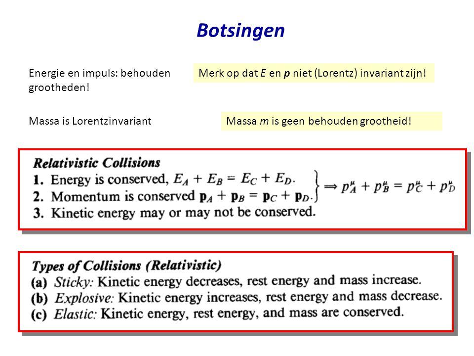 July 29, 2014Jo van den Brand30 Botsingen Energie en impuls: behouden grootheden! Merk op dat E en p niet (Lorentz) invariant zijn! Massa is Lorentzin