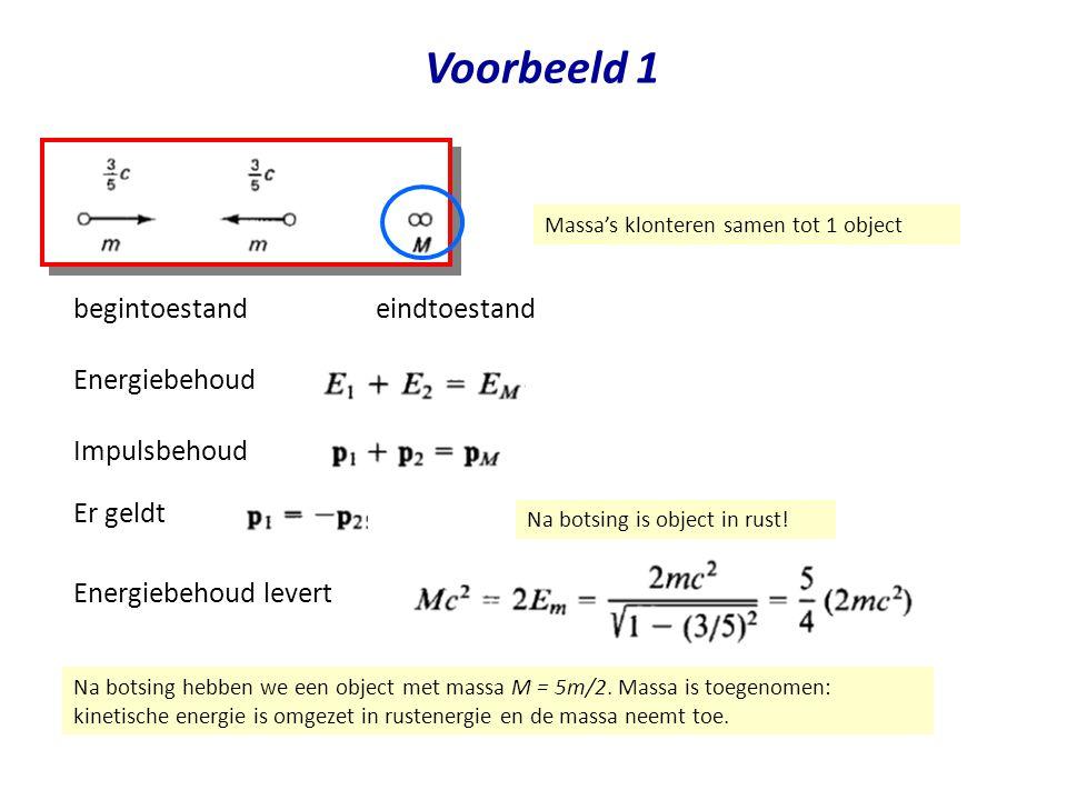 Voorbeeld 1 begintoestand Massa's klonteren samen tot 1 object eindtoestand Impulsbehoud Er geldt Energiebehoud Energiebehoud levert Na botsing is obj