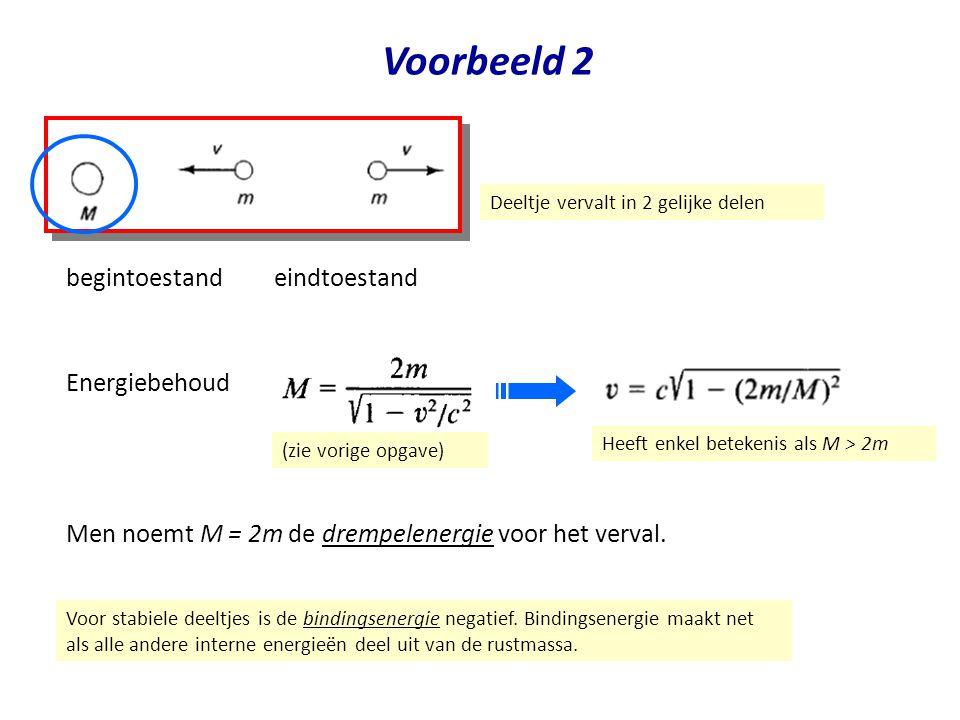 July 29, 2014Jo van den Brand32 Voorbeeld 2 Deeltje vervalt in 2 gelijke delen eindtoestand begintoestand Men noemt M = 2m de drempelenergie voor het