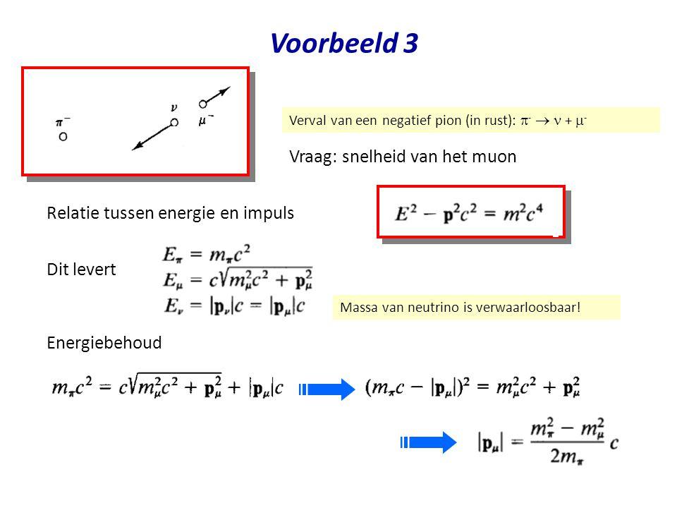 July 29, 2014Jo van den Brand33 Voorbeeld 3 Verval van een negatief pion (in rust):  -  +  - Vraag: snelheid van het muon Energiebehoud Relatie tus