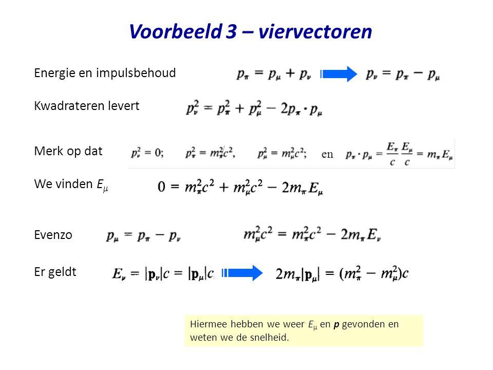 Voorbeeld 3 – viervectoren Er geldt Energie en impulsbehoud Hiermee hebben we weer E  en p gevonden en weten we de snelheid. Merk op dat Kwadrateren