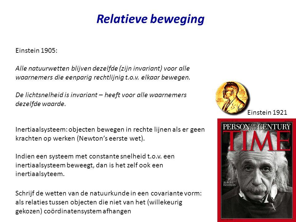 4 Relatieve beweging Einstein 1905: Alle natuurwetten blijven dezelfde (zijn invariant) voor alle waarnemers die eenparig rechtlijnig t.o.v. elkaar be